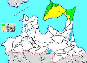 Shimokita District, Aomori - Colored areas are in the district  1. Kawauchi (now part of Mutsu-shi) 2. Ōhata (now part of Mutsu-shi) 3. Ōma 4. Higashidōri 5. Kazamaura 6. Sai 7. Wakinosawa (now part of Mutsu-shi)