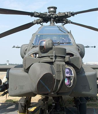Royal Netherlands Air Force AH-64D at the Farnborough Airshow, 2006 Apachefarnborough2006frontv.jpg