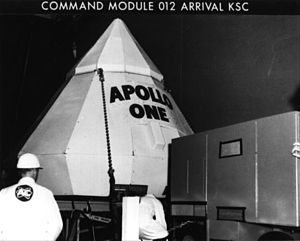 Apollo 1 - Command Module 012, labeled Apollo One, arrives at Kennedy Space Center, August 26, 1966