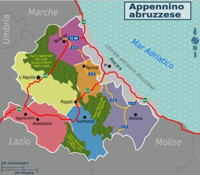 Cartina Turistica Abruzzo.Appennino Abruzzese Wikivoyage Guida Turistica Di Viaggio