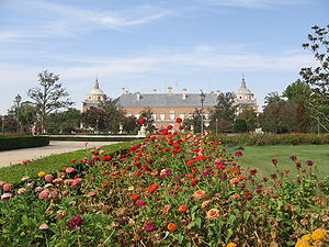 Eastern façade of the Royal Palace from the Parterre's Garden of Aranjuez (Spain)