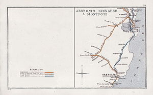 North British, Arbroath and Montrose Railway - 1912 Railway Clearing House Junction Diagram showing railways in the area