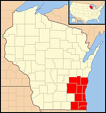 Map of Wisconsin indicating counties of the Archdiocese of Milwaukee