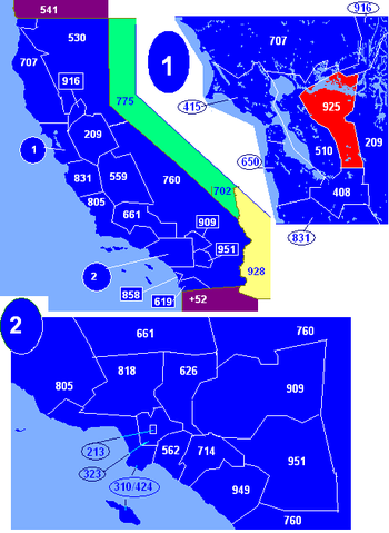Map of California area codes in blue (and border states) with 925 in red