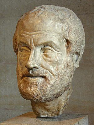 Aristotle - Portrait bust of Aristotle; an Imperial Roman (1st or 2nd century AD) copy of a lost bronze sculpture made by Lysippos