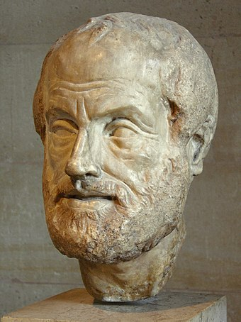 Portrait bust of Aristotle; an Imperial Roman (1st or 2nd century AD) copy of a lost bronze sculpture made by Lysippos Aristoteles Louvre.jpg