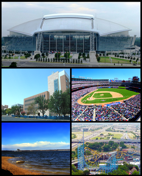 De haut en bas et de gauche à droite : AT&T Stadium, University of Texas at Arlington, Rangers Ballpark in Arlington, Lake Arlington, Six Flags Over Texas.