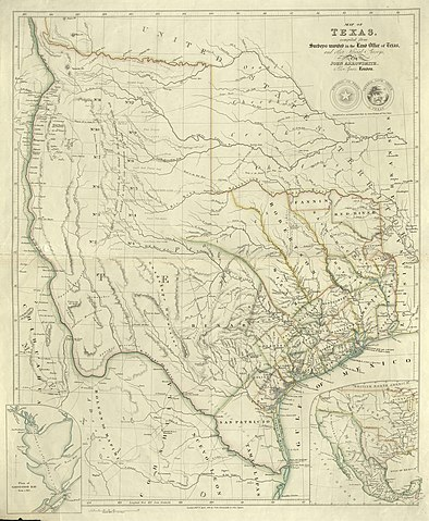 Map of the Republic of Texas 1841 with expansive borders