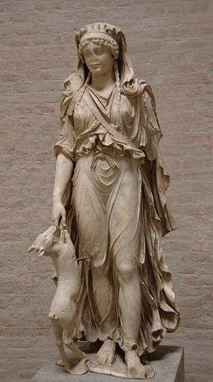 """Gabii - The """"Braschi"""" Diana, a Roman marble excavated in 1792 by Gavin Hamilton and sold to Luigi Braschi Onesti, who sold it to Ludwig of Bavaria (Glyptothek. Munich)"""
