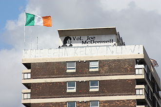 Flag of Ireland - A large tricolour flying from Cuchulainn House in the New Lodge, Belfast