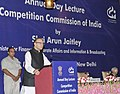 """Arun Jaitley delivering the Annual Day Lecture, organised by the Competition Commission of India (CCI) on """"Competition, Regulator and Growth"""", in New Delhi.jpg"""