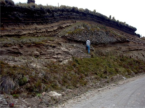 The top of the 11,000 year-old ash fall deposits interstratified with paleosols overlying a channelized debris flow and a sequence of wet surges Ash Fall Deposits and Debris Flow at Nevado del Ruiz volcano in Colombia.jpg