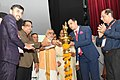 Ashwini Kumar Choubey lighting the lamp to inaugurate the 11th International Dental Students and 5th Dental Surgeons Conference.JPG