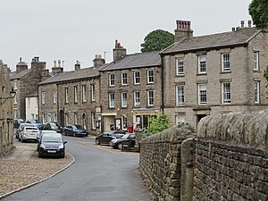 "Darrowby - Askrigg village centre, with ""Skeldale House"" to the right"