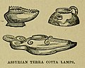 "Assyrian terra cotta lamps — Illustration from the book ""A Pictorial Commentary on the Gospel According to Mark"" (1881) by Edwin W. Rice.jpg"