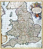 NEW MAP OF THE KINGDOME of ENGLAND, Representing the Princedome of WALES, and other PROVINCES, CITIES, MARKET TOWNS, with the ROADS from TOWN to TOWN (1685)