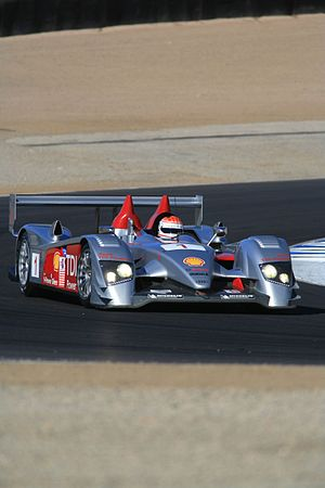 Emanuele Pirro - Pirro driving an Audi R10 at Laguna Seca in 2006.