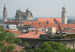 View of Augsburg City Hall and other historical buildings in Augsburg
