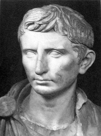 A reconstructed statue of Augustus as a younger Octavian, dated ca. 30 BC Augustus Statue.JPG
