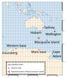 a map showing Australia and the area of Antarctica due south of it. The labelled places outside Antarctica are Sydney, Wellington, Hobart, and Macquarie Island; and from east to west in Antarctica, Cape Adare, main base, western base, Gaussberg.