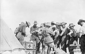 21st Battalion (Australia) - Members of the 21st Battalion receiving inoculations prior to deployment to Gallipoli