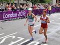 Ava Hutchinson (Ireland) Bahar Dogan (Turkey) - London 2012 Women's Marathon.jpg