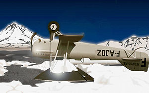 Aeroposta Argentina - Henri Guillaumet's crashed Potez 25, F-AJDZ, on the frozen surface of Laguna del Diamante in the Andes.