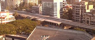 Mumbai Metro - A metro station under construction in Andheri in March 2012.