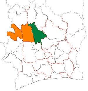 Béré Region - Image: Béré region locator map Côte d'Ivoire