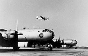 Air Training Command - B-29s line the ramp at Randolph AFB as one takes off on a training mission, c. 1950.
