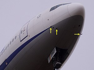 Pitot tube - Location of Pitot tubes on a Boeing 777