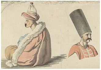 Ottoman Army (15th-19th centuries) - Image: BARTHOLDY pg 553 (D) Larissa, Janitschar (sitzend), türkischer Kannonier der Garnison
