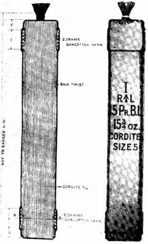 Ordnance BL 15 pounder - Image: BL15pdr Cordite Cartridge Boer War