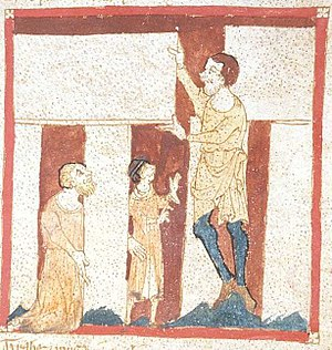 Merlin - A giant helps Merlin build Stonehenge. From a manuscript of the Roman de Brut by Wace