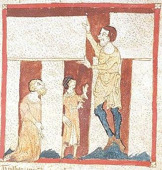 Merlin - A giant helps Merlin build Stonehenge. From a manuscript of the Roman de Brut by Wace