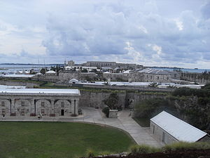 National Museum of Bermuda - View from the Commissioner's House over the Keep Yard towards the 1850 Ordnance House and the entry of the Museum