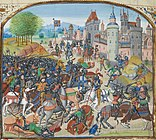 The Battle of Neville's Cross, as depicted in a 15th-century manuscript