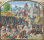 La Battaglia di Durham, come raffigurato in un manoscritto del 15 ° secolo