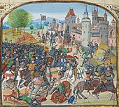A colourful image of late-Medieval knights fighting outside a walled town