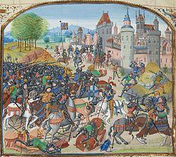 La battaglia di Durham in un manoscritto di Jean Froissart (XV secolo)