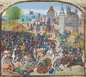 Louis de Gruuthuse - Battle of Neville's Cross from Louis' illuminated Froissart, Bruges, 1470s