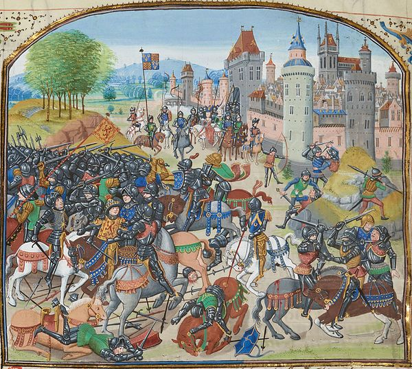 The Battle of Neville's Cross BNMsFr2643FroissartFol97vBatNevilleCross.jpg