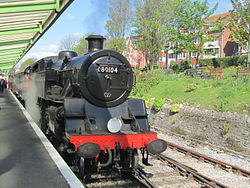 BR Standard Class 4 80104 at Swanage Railway Station (7225309908).jpg