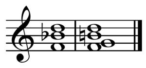 ♭VII–V7 cadence - Image: BVII V7 cadence in C