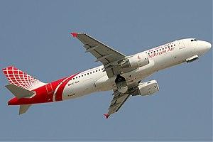 Bahrain Air - A Bahrain Air Airbus A320 taking off from Dubai International Airport.