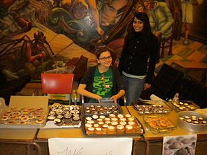 Bake sale - A typical bake sale stand.