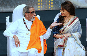 Bal Thackeray - Thackeray with actress Madhuri Dixit in 2012 shortly before his death