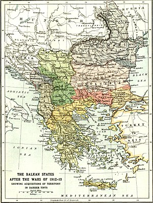 Balkan League - Map showing the borders of the Balkan states before and after both Balkan Wars.