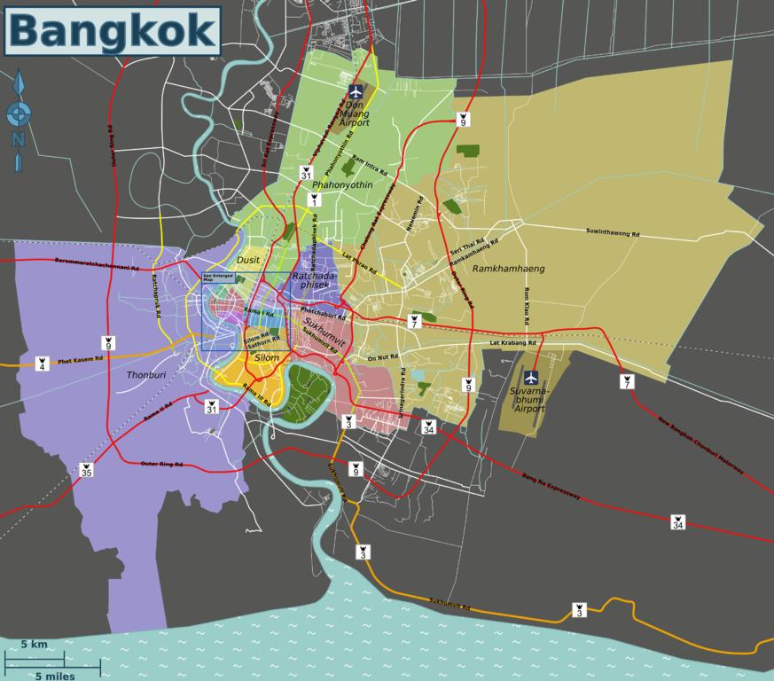 Carte de Bangkok avec les différents quartiers de la capitale thailandaise.
