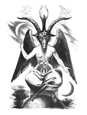 Baphomet - The 19th century image of a Sabbatic Goat, created by Eliphas Levi. The arms bear the Latin words SOLVE (separate) and COAGULA (join together)